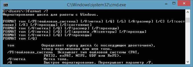 Параметры команды Format в Windows